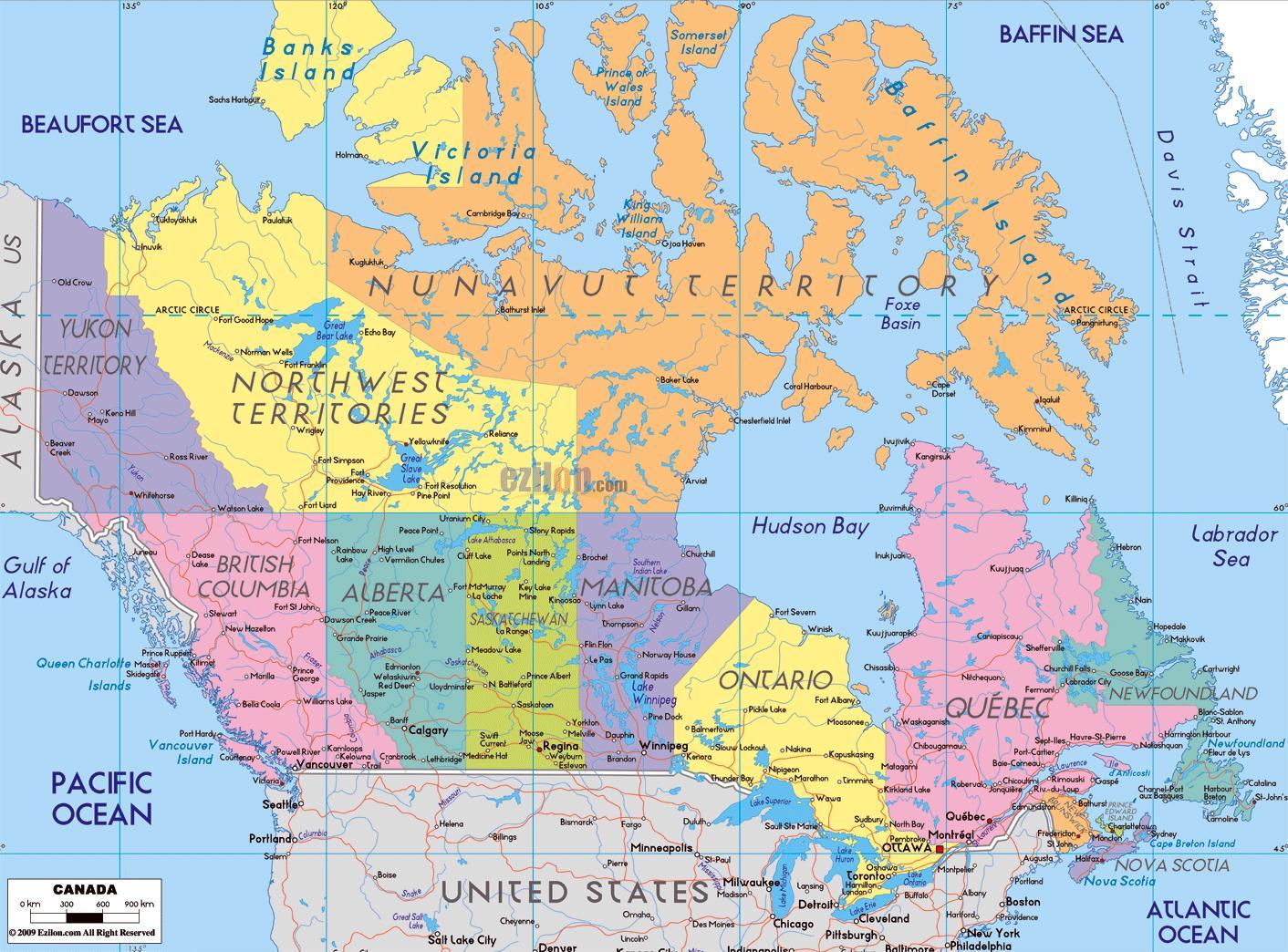 Kanada Mapa S Nazvy Mest Podrobna Mapa Kanady S Mesty Severni